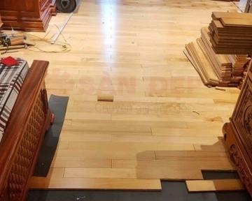 Công trình sàn gỗ Pơ Mu tại Lương Khánh Thiện Hoàng Mai